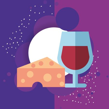wine cup drink with cheese portion vector illustration design