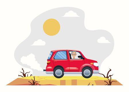 man driving car avatar character vector illustration design
