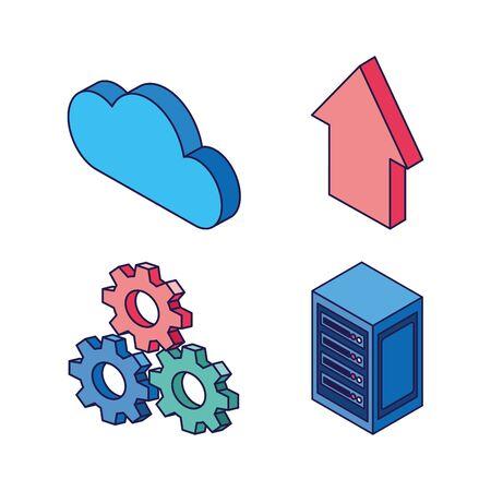 cloud computing gears upload data server technology internet set icons vector illustration