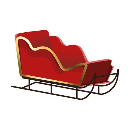 christmas sled icon over white background, flat design, vector illustration
