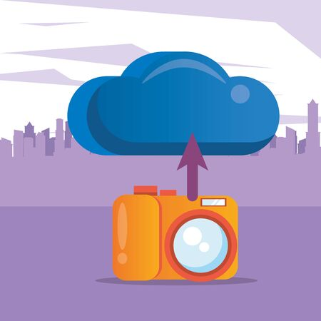cloud computing server with camera photographic vector illustration design