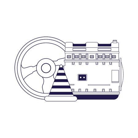 car motor, steering wheel and traffic cone over white background, flat design, vector illustration