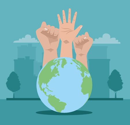 activists hands human protesting with world planet vector illustration design Ilustração