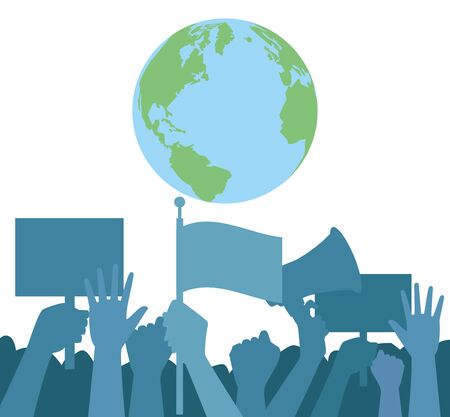 hands human up protesting with world planet and megaphone vector illustration design
