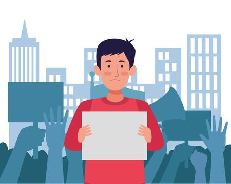 activist man protesting with banner avatar character vector illustration design