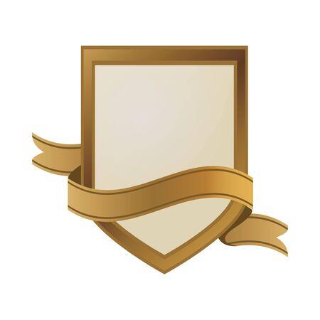 golden shield emblem with ribbon frame vector illustration design