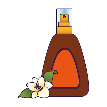 beautiful flower and sun bronzer spray bottle icon over white background, colorful design, vector illustration