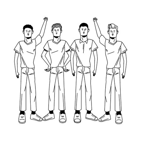 group of men protesting avatars characters vector illustration design