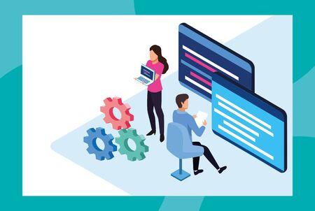 big data technology with webpage template and people vector illustration design Ilustração