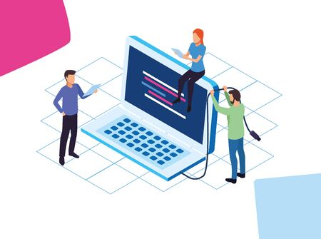 big data technology with laptop and people vector illustration design