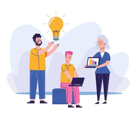 cartoon man with bulb and woman and man using a laptop computer over white background, colorful design, vector illustration Ilustração