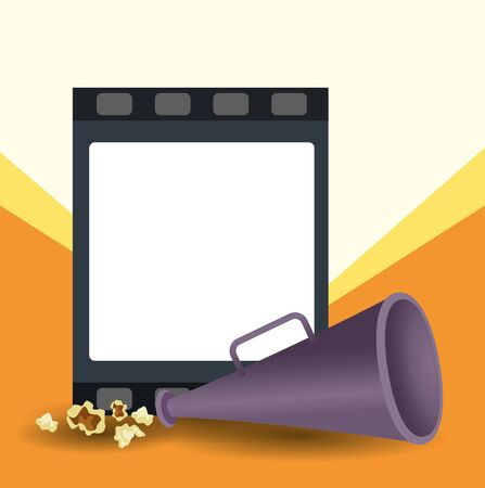 blank film reel and directors megaphone over orange and white background, colorful design, vector illustration 写真素材 - 143399993
