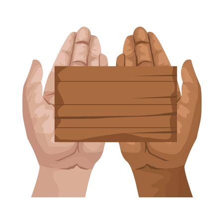 interracial hands human with wooden label vector illustration design Illustration