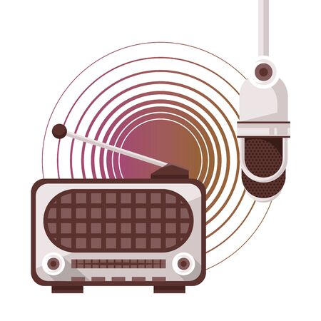radio and microphone old devices vector illustration design  イラスト・ベクター素材
