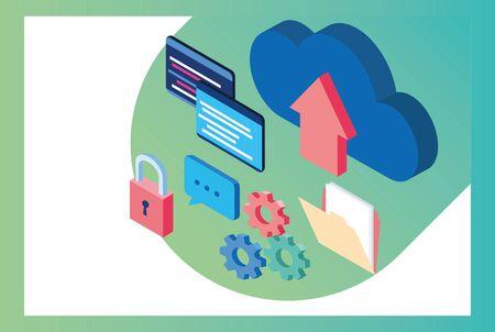 big data technology with cloud computing vector illustration design