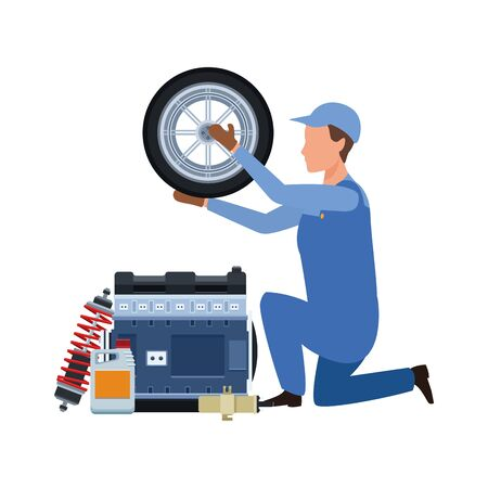 car mechanic with tire and engines over white background, vector illustration