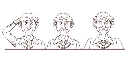 group of old grandfathers characters vector illustration design
