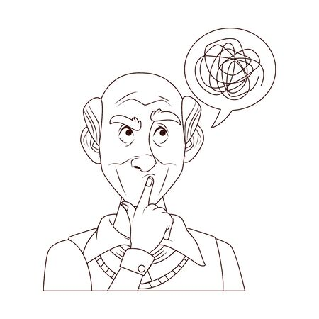 old grandfather with scribble in speech bubble vector illustration design