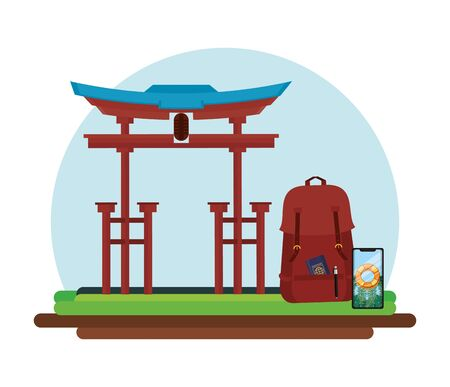 world travel scene with chinese arch vector illustration design
