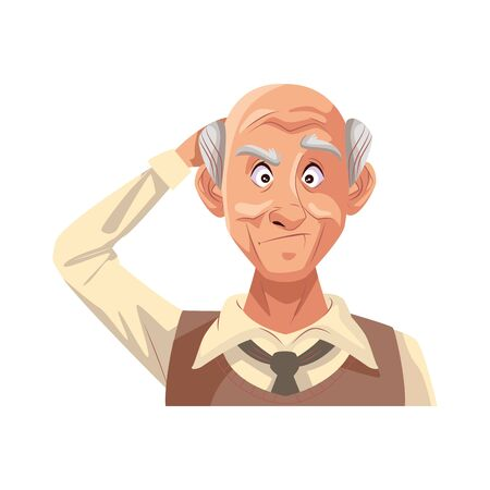 old grandfather character isolated icon vector illustration design 向量圖像