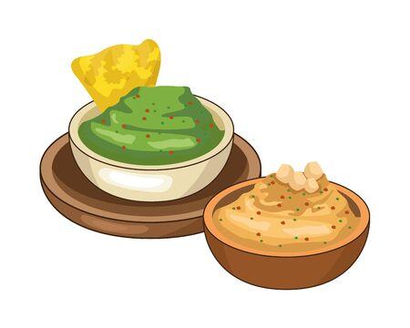 nachos with guacamole mexican food vector illustration design