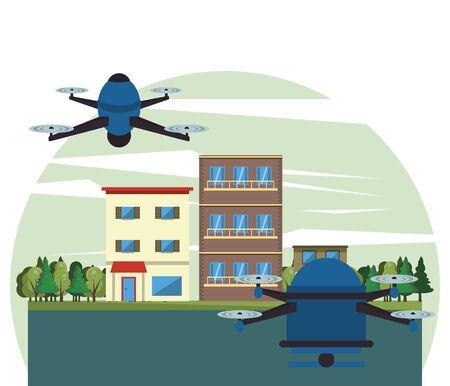 drone technology flying on the city vector illustration design Vecteurs