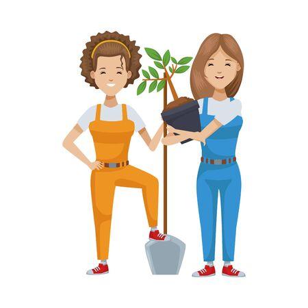 environmentalist women planting tree characters vector illustration design