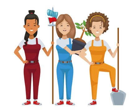 environmentalist women recycling and planting vector illustration design