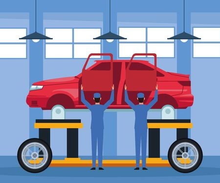 car repair shop scenery with mechanics holding up a doors with lifted car body, colorful design, vector illustration Ilustração