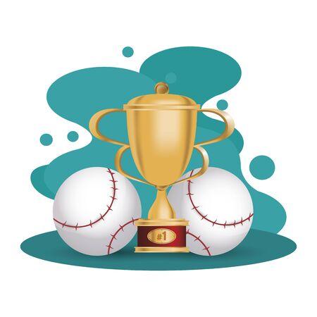 baseball sport balls with trophy cup vector illustration design