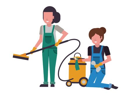 housekepping female workers with equipment characters vector illustration design