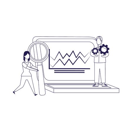 woman with magnifying glass and man with gear wheels and big laptop computer over white background, flat design, vector illustration