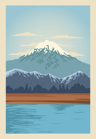 beautiful landscape with lake and mountain scene vector illustration design
