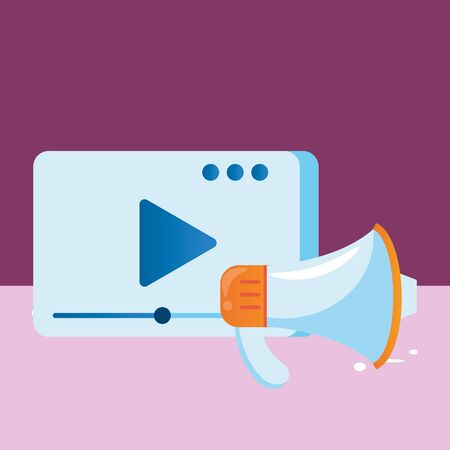 media player template with play button and megaphone vector illustration design