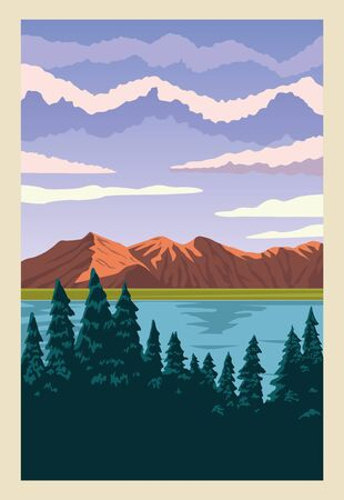 beautiful landscape with lake and forest scene vector illustration design