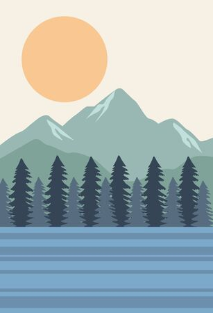 beautiful landscape with pines and lake scene vector illustration design