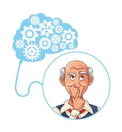 old man patient of alzheimer disease with gears machine vector illustration Ilustração