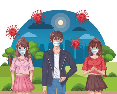people with face masks and covid19 particles on the city vector illustration design