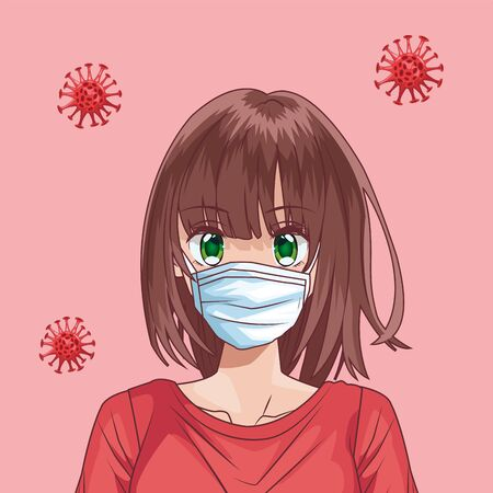 beautiful woman with face mask and covid19 particles anime style vector illustration design