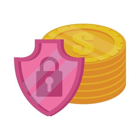shield with padlock security and coins vector illustration design 向量圖像