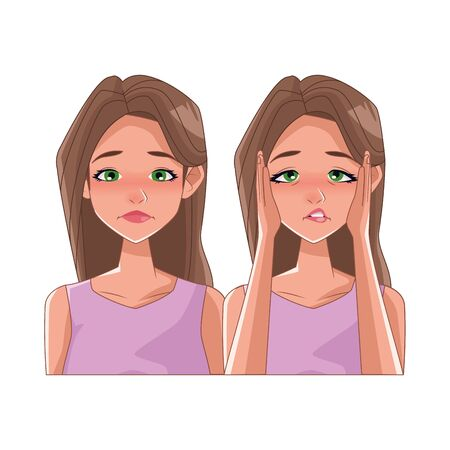 couple of women with stress symptoms vector illustration design