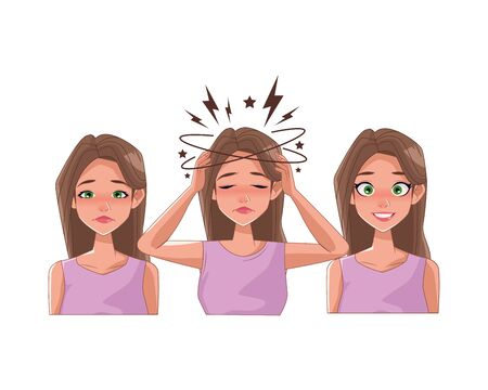 group of women with stress symptoms vector illustration design