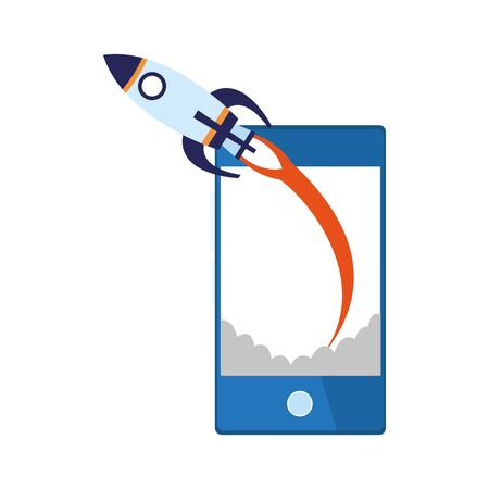 rocket and smartphone device icon over white background, vector illustration