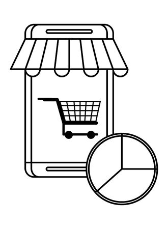 smartphone device with shopping cart vector illustration design 向量圖像