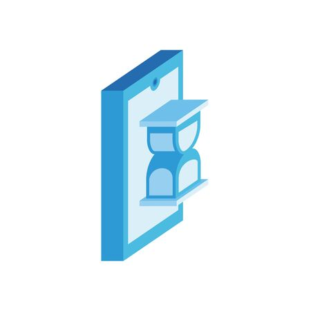 smartphone with hourglass isometric style icon vector illustration design 向量圖像