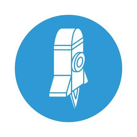 rocket launcher block style icon vector illustration design