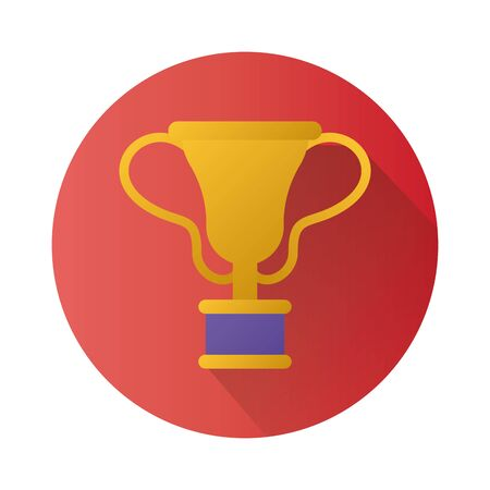trophy cup award block style icon vector illustration design