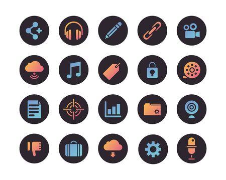 bundle of social media set icons vector illustration design Vectores