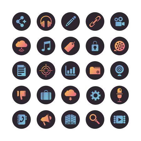 bundle of social media set icons vector illustration design