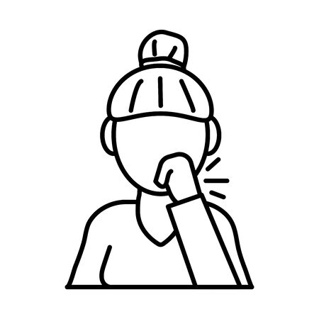 woman coughing sick line style icon vector illustration design 向量圖像